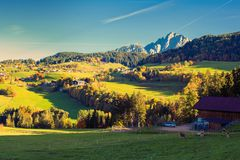 Nature and mountains of the surroundings of Merano in the province of Bolzano at the late autumn. Italy royalty free stock image