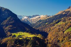 Nature and mountains of the surroundings of Merano in the province of Bolzano late autumn. Italy. Nature and mountains of the surroundings of Merano in the stock photography