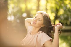 Nature and a natural beauty. Beauty woman in nature royalty free stock images