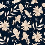 Nature in Navy and Cream Floral Repeat Print Pattern  in Vector vector illustration