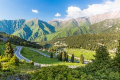 Nature near Big Almaty Lake, Tien Shan Mountains in Almaty, Kazakhstan. Asia at summer stock photos