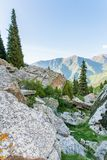 Nature near Big Almaty Lake, Tien Shan Mountains in Almaty, Kazakhstan,Asia Royalty Free Stock Image