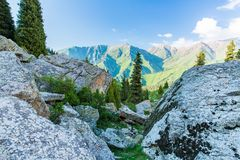 Nature near Big Almaty Lake, Tien Shan Mountains in Almaty, Kazakhstan,Asia Stock Images