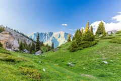 Nature near Big Almaty Lake, Tien Shan Mountains in Almaty, Kazakhstan,Asia Stock Photo