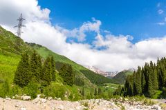 Nature near Big Almaty Lake, Tien Shan Mountains in Almaty, Kazakhstan, Royalty Free Stock Photography