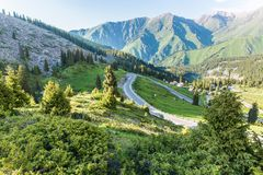 Nature near Big Almaty Lake, Tien Shan Mountains in Almaty, Kazakhstan Royalty Free Stock Image