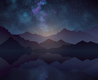 Nature night vector background with starry sky, mountains and water surface Royalty Free Stock Image