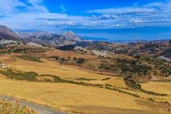 nature normale de montagnes d'horizontal d'Almeria Andalousie cabo de desert gata d'agave près d'Espagnol de centrale de stationn Image libre de droits