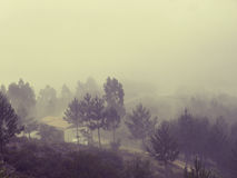 Nature Northern Portugal fields and mountains in fog. Atmospheric Photo Royalty Free Stock Photos
