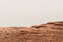 Nature old wooden board on white concrete texture background Royalty Free Stock Image