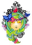 Nature ornament. Vector illustration of nice women in nature ornament Royalty Free Stock Photography