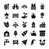 Nature And Outdoor Glyph Icons. Nature and outdoor pack with glyph style vectors expliciting visuals related to  natural elements to be used in agriculture royalty free illustration