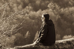 Nature outdoor portrait of teenage girl, vintage look Royalty Free Stock Images