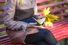 Nature outdoor relax leisure literature concept. Lady reading bl Stock Image