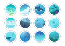 Nature painting circles with different low polygon style textures. Vector underwater illustration. Trendy stickers set Royalty Free Stock Photography
