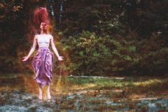 Nature, Painting, Tree, Girl Stock Photography