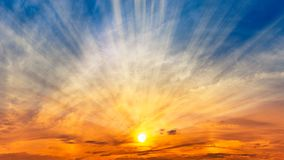 Nature panorama background sky and sun. With silver lining, dawn or dusk time scene royalty free stock photography
