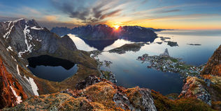 Nature panorama mountain landscape at sunset, Norway stock photography