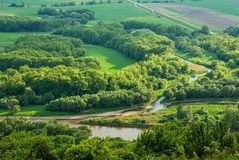The nature panorama. View on the border between Slovakia and Austria Royalty Free Stock Image