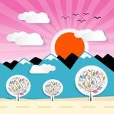 Nature Paper Mountains Illustration Stock Photos