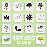 Nature Paper Vector Icons Set with Flowers Royalty Free Stock Photos