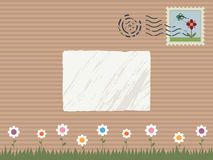 Nature parcel. Brown paper parcel with nature stamp, post mark and label for text stock illustration