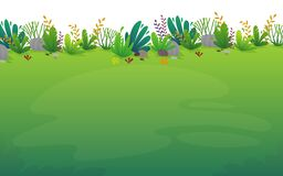 Free Nature Park Background. Green Grass On The Lawn Field, Bushes Plants And Flowers, Trees Landscape. Comic Book Style Vector Scenery Stock Images - 182984554