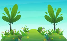 Free Nature Park Background. Green Grass On The Lawn Field, Bushes Plants And Flowers, Trees Landscape. Comic Book Style Vector Scenery Stock Photos - 182984603