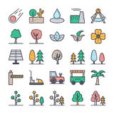 Nature, Park, Plants, Trees Vector Icons 3 Royalty Free Stock Photography