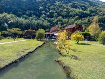 Nature Park with river and restaurant in the Montenegro royalty free stock photography