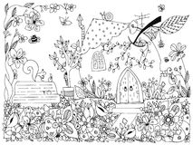Nature & Parks. Fairy tale illustration an apple in the form house.  Stock Photo