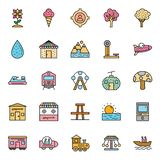 Nature, Parks and Trees Isolated Vector Icons Set that can be easily modified and Edit in any Size or Color royalty free illustration