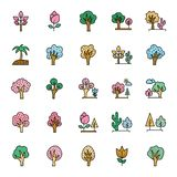 Nature, Parks and Trees Vector Icons Set that can be easily modified and Edit in any Size or Color royalty free illustration