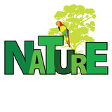 Nature with parrot color vector Royalty Free Stock Photo
