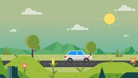 Nature path countryside with car and sky background vector illustration.Beautiful nature scene.Spring landscape. With main street vector illustration