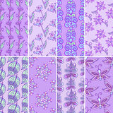Nature pattern set. Set of violet purple nature pattern backgrounds with leaves, flowers and butterflies Vector Illustration