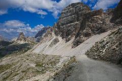 Nature, paysage, voie, manière, trekking, s'élever, augmentant, refuge, route, montagne, dolomites, dolomiti, alpes, alpin, natur photographie stock
