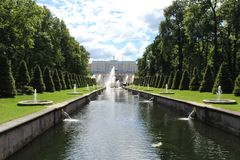 Nature in Peterhof. Amazing Sunny day in Peterhof stock photos