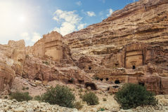Nature of Petra, Jordan. Petra is one the New Seven Wonders of t. The city of Petra was lost for over 1000 years. Now one of the Seven Wonders of the Word Stock Photo