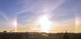 Nature phenomenon - Halo around sun in a frosty day. Nature phenomenon - Halo around sun in a really frosty day stock image