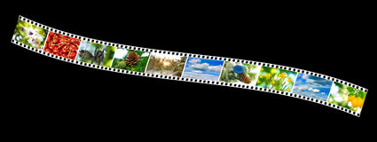Nature photo on the photo strip on a black background Stock Photography