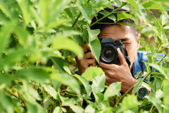 Nature photographer. Asian nature photographer taking photos in forest Royalty Free Stock Photos