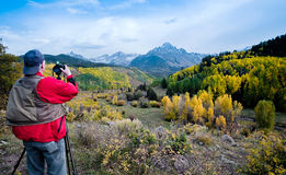 Nature photographer in Colorado stock photos