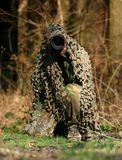 A nature photographer hides away. In the forest Stock Images