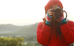 Nature photographer hiking trip Stock Photo