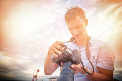 Nature photographer. An image of nature photographer takes pictures Stock Photography