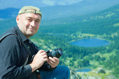 Nature  photographer  at mountains Royalty Free Stock Image