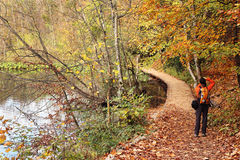 Nature photographer in Plitvice National Park Royalty Free Stock Photo