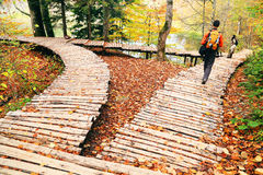 Nature photographer in Plitvice National Park Royalty Free Stock Photography