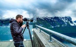 Nature photographer Stegastein Lookout Beautiful Nature Norway. Royalty Free Stock Photo